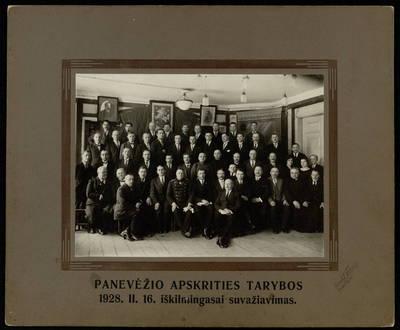 Panevėžio apskrities tarybos iškilmingas suvažiavimas 1928.02.16 / fotogr. I[ciko] Frido. - 1928