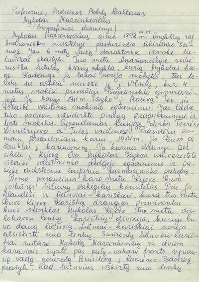 Profesorius, medicinos mokslų daktaras Mykolas Marcinkevičius / Almonė Marcinkevičiūtė-Bernadišienė. - 2000.05.12