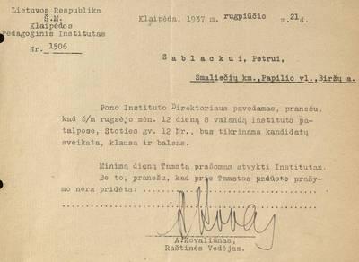 Pranešimai Petrui Zablockui dėl studentų sveikatos tikrinimo / A. Kovaliūnas. - 1937.08.21