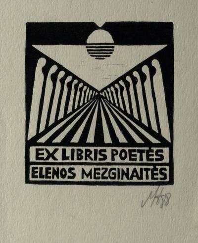 Ex libris poetės Elenos Mezginaitės / Henrikas Mazūras. - 1988