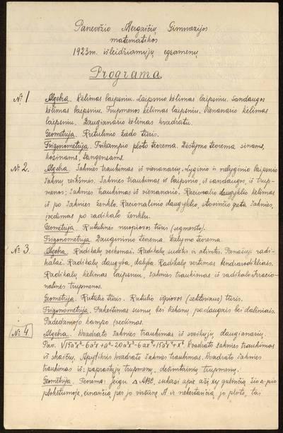 Panevėžio mergaičių gimnazijos matematikos 1923 m. išleidžiamųjų egzaminų programa / [Panevėžio mergaičių gimnazija]. - 1923