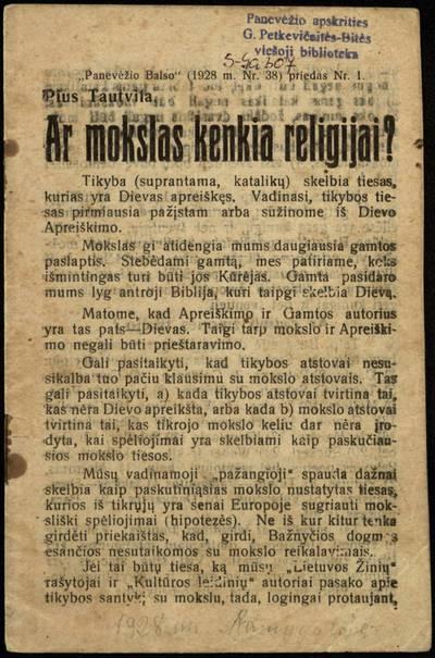 Ar mokslas kenkia religijai? / Pius Tautvila. - 1928