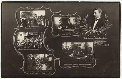 Mokytojo Antano Lesnikausko laidotuvės. Montažinė nuotrauka. - 1930.06.07