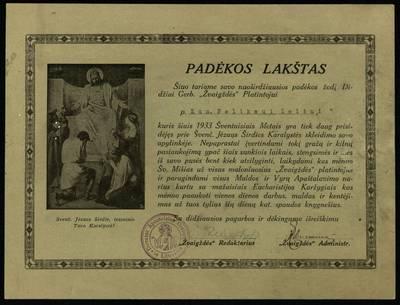 """Padėkos lapas katalikų mėnesinio žurnalo """"Žvaigždė"""" platintojui kunigui Felicijonui Leliui / """"Žvaigždės"""" redakcija ir administracija. - 1933"""