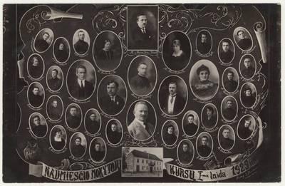 Naumiesčio dvimečių mokytojų kursų I-osios 1925 m. laidos absolventai ir pedagogai. Nuotrauka. Vinjetė / Kostas Barniškis ...[et al.]. - 1925