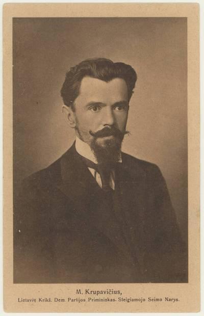 M. Krupavičius, Lietuvių Krikš. Dem. Partijos Pirmininkas. Steigiamojo Seimo narys