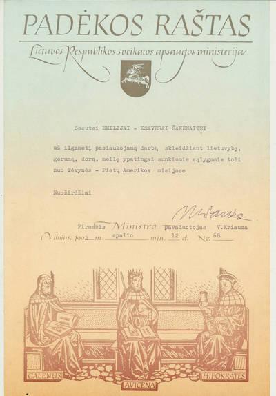 Padėkos raštas seseriai Emilijai-Ksaverai Šakėnaitei. 1992-10-12