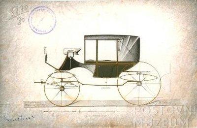 Litografie lehkého vozíku z 1. poloviny 19. století