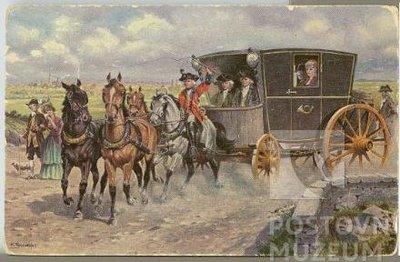 Pohlednice vozu rakouské spěšné pošty