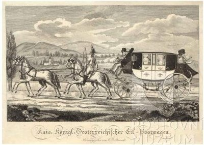 Mědiryt Ottenfeldův poštovní rychlík