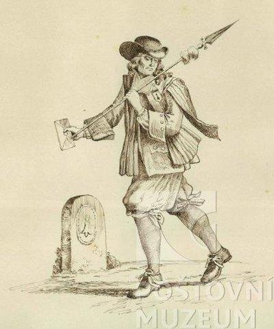 Pěší posel z počátku 18. století