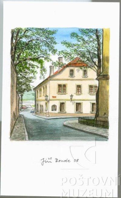 Jiří Bouda: Pohled na Poštovní muzeum od kostela sv. Klimenta