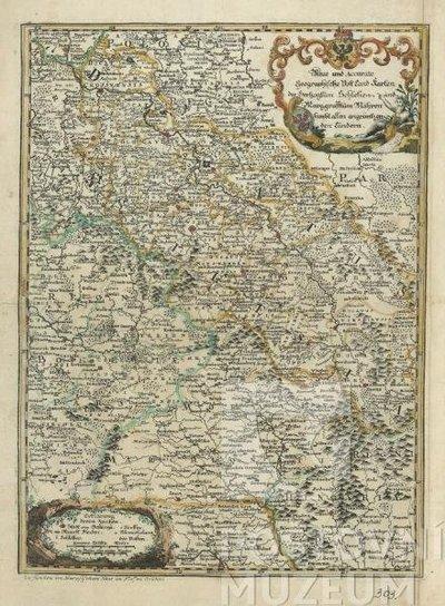 Poštovní mapa - Neue und Accurate Geographische Post-Land Karte des Herzogtum Schlesien und Markgraftum Maehren sambt allen angräntzenden Ländern