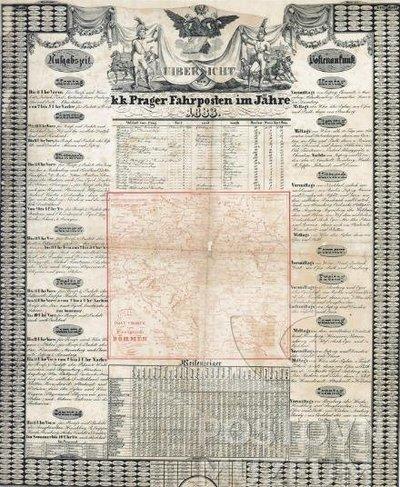 """Jízdní řád """"Uibersicht der k.k. Prager Fahrposten... im Jahre 1831"""""""