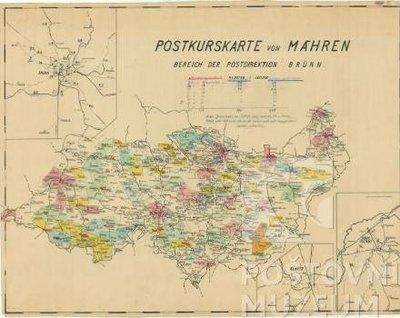 Poštovní kursovní mapa Moravy