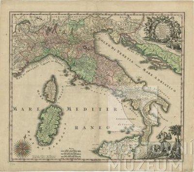 """Poštovní mapa """"L´Italia con le sue Poste e Strade Principali"""""""