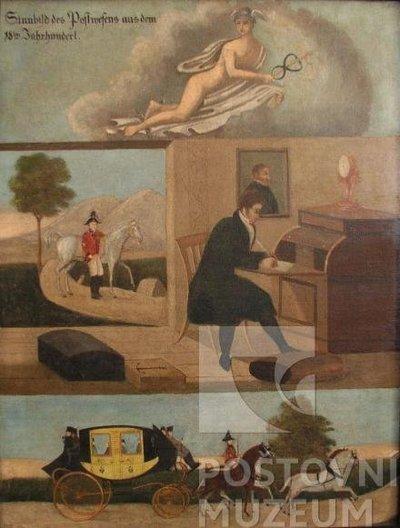 Alegorie poštovnictví v 18. století (nezn. autor)