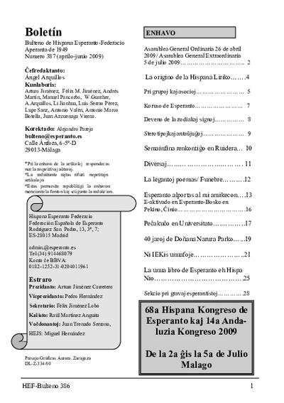 Boletín, [2009], n. 387