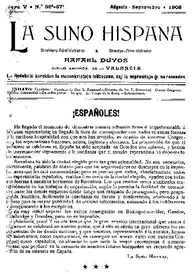 La suno hispana, [1908], n. 056-057, jaro V