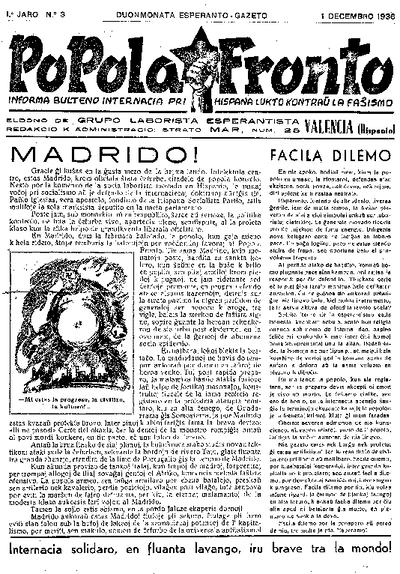 Popola Fronto, 1936, n. 03, 1a jaro