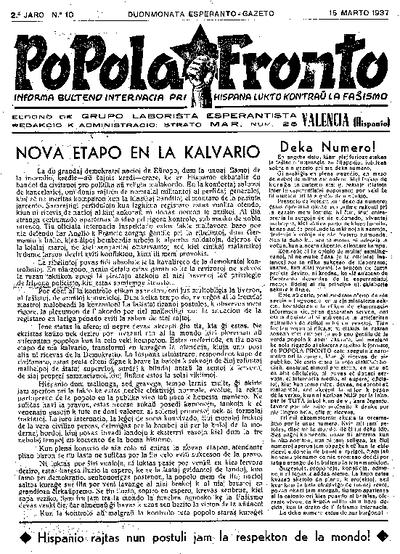 Popola Fronto, 1937, n. 10, 2a jaro