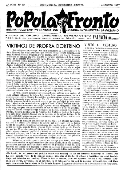 Popola Fronto, 1937, n. 19, 2a jaro
