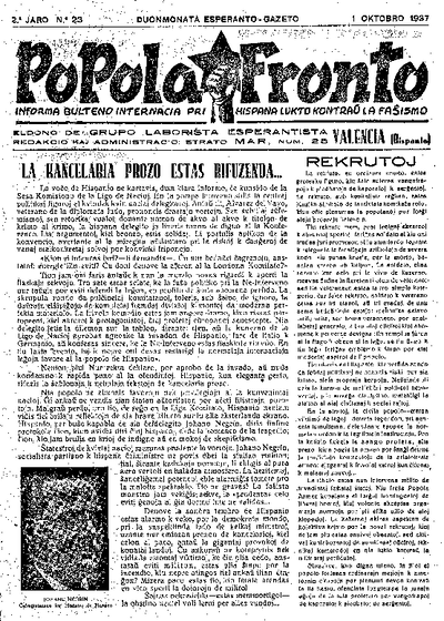 Popola Fronto, 1937, n. 23, 2a jaro