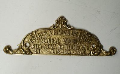 Placa de identificação: Cofres à prova de fogo