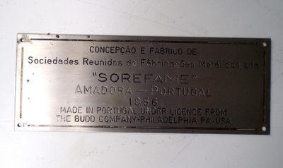 Placa de Fabricante: Sorefame/ 1956