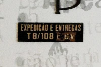 Placa de informação:  Expedição e entregas T8/108 E C.V.