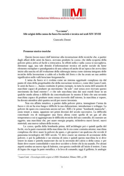La canna. Alle origini della canna da fuoco fra società e tecnica nei scoli XIV-XVIII