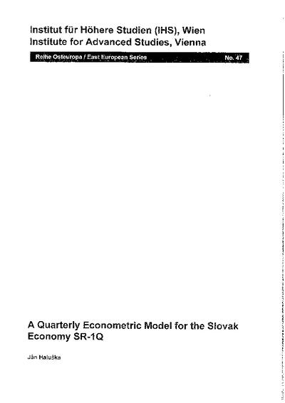A Quarterly Econometric Model for the Slovak Economy SR-1Q