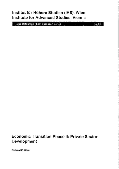 Economic Transition Phase II: Private Sector Development