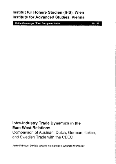 Intra-Industry Trade Dynamics in the East-West Relations