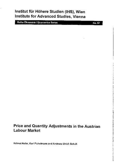 Price and Quantity Adjustments in the Austrian Labour Markets