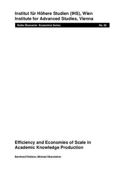 Efficiency and Economies of Scale in Academic Knowledge Production