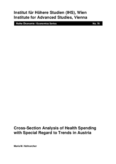 Cross-Section Analysis of Health Spending with Special Regard to Trends in Austria