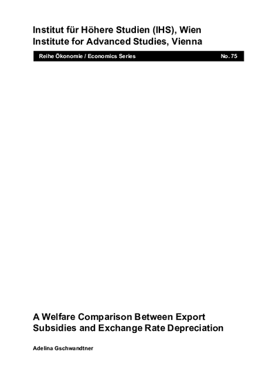 A Welfare Comparison Between Export Subsidies and Exchange Rate Depreciation