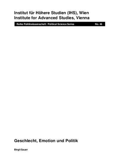 Geschlecht, Emotion und Politik