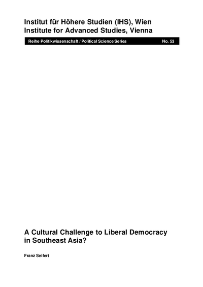 A Cultural Challenge to Liberal Democracy in Southeast Asia?