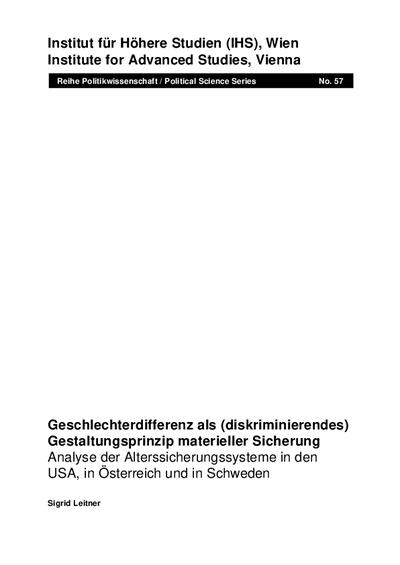 Geschlechterdifferenz als (diskriminierendes) Gestaltungsprinzip materieller Sicherung