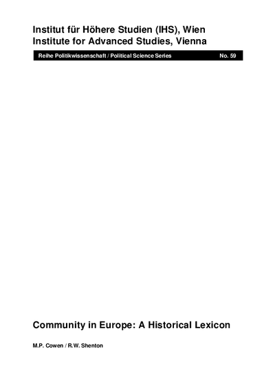 Community in Europe: A Historical Lexicon