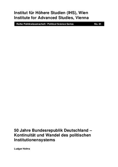 50 Jahre Bundesrepublik Deutschland - Kontinuität und Wandel des politischen Institutionensystems