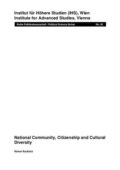 National Community, Citizenship and Cultural Diversity