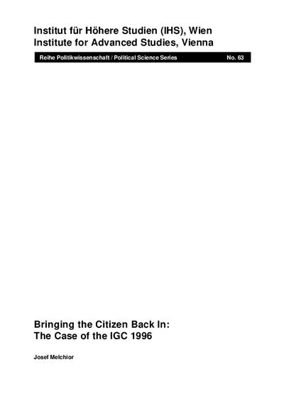 Bringing the Citizen Back In: The Case of the IGC 1996