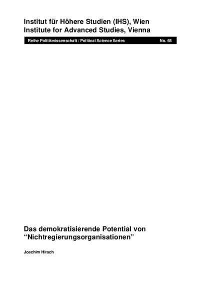 Das demokratisierende Potential von Nichtregierungsorganisationen