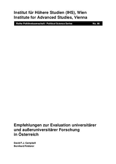 Empfehlungen zur Evaluation universitärer und außeruniversitärer Forschung in Österreich