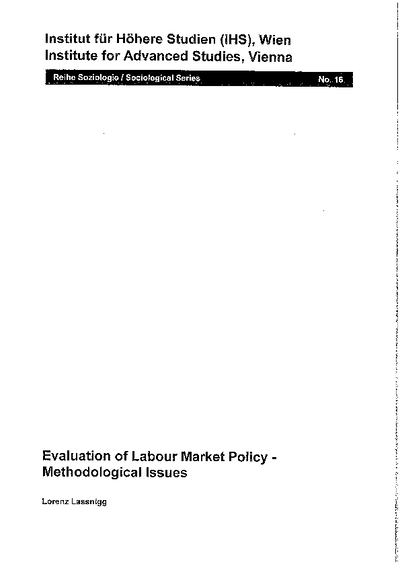 Evaluation of Labour Market Policy - Methodological Issues