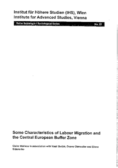 Some Characteristics of Labour Migration and the Central European Buffer Zone