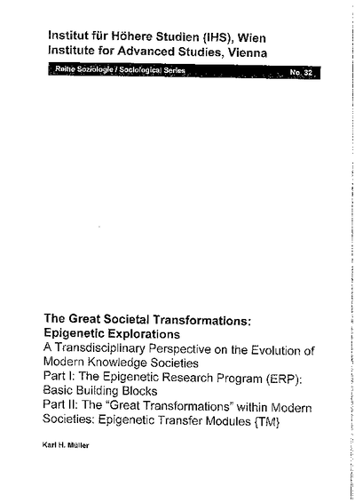 The Great Societal Transformations: Epigenetic Explorations